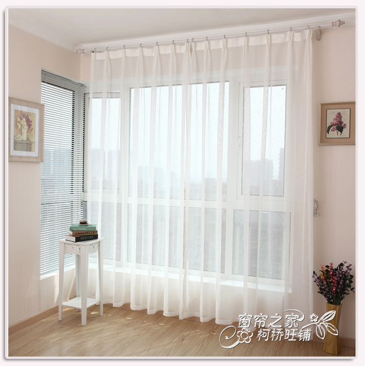 (6m*2.7m) Free shipping Finished screens gauze voile tulle cotton linen white sheer curtains for windows and living room(China (Mainland))