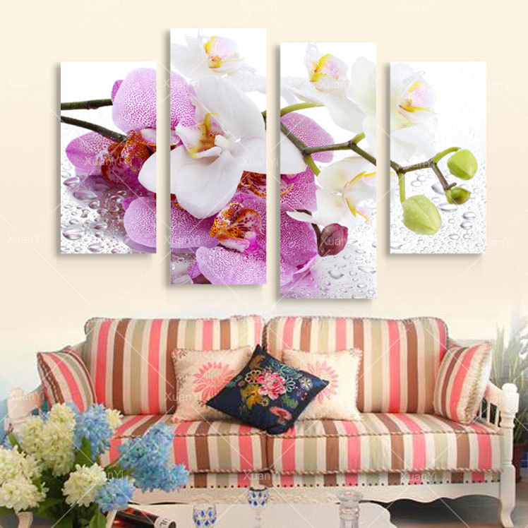 4 Panel Printed Butterfly Flower Canvas Oil Painting Cuadros Decoracion Wall Picture For Living Room Unframed Modern Style XY029(China (Mainland))