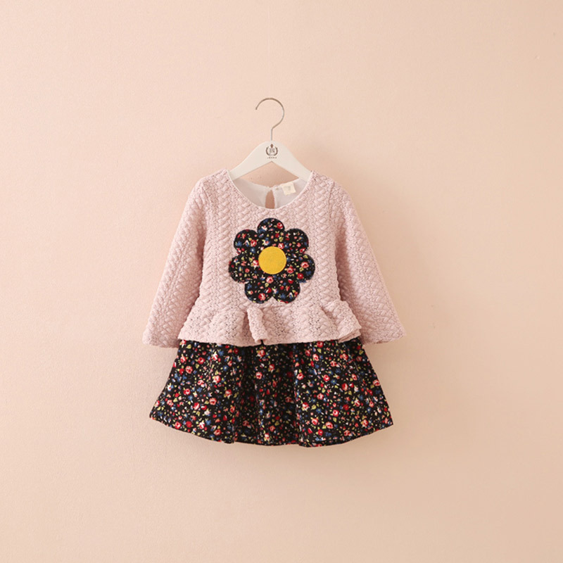 2015 autumn new style baby girl's fashion patchwork dress little girl's long sleeve dress girl's pretty clothing qz-3008(China (Mainland))