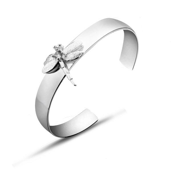 free shipping b041 fashion silver plated bangle,zircon dragonfly design Bracelet Soft cuff Bangle Flexible Small Cuff(China (Mainland))