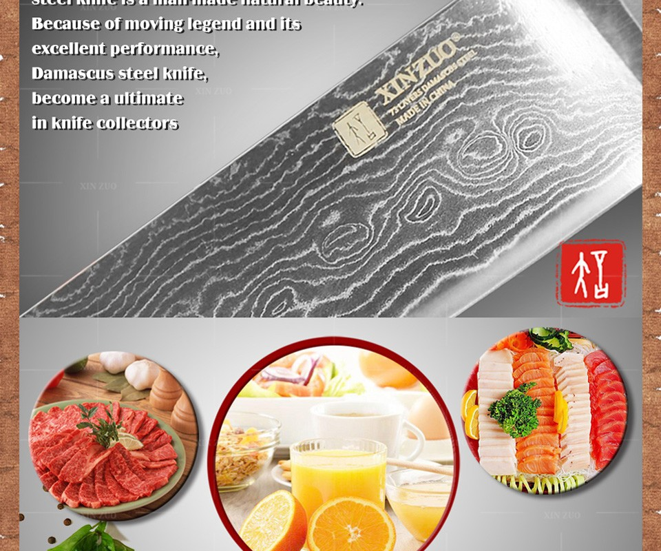 "Buy 8"" inch chef knife Japanese VG-10&73 layers Damascus steel kitchen knife sharp prefessional chef knife wood handle free shipping cheap"