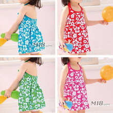 2015 new beach dress baby girls Kids cotton beach Dress children clothing summer autumn 2-7 years