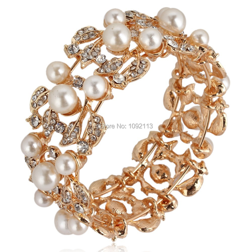 Bella Fashion Golden Plated Simulated Pearl Bridal Bangle Clear Austrian Crystal Bracelet for Women Bridesmaid Jewelry