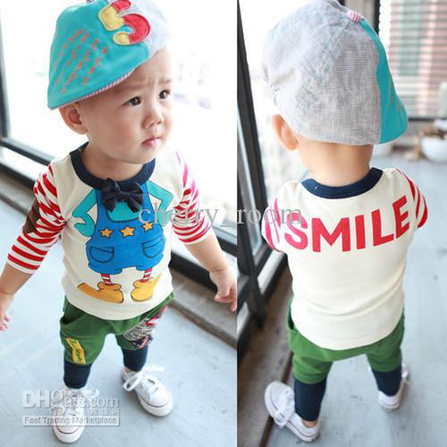 2013 Toddler Infant Cartton T Shirt Autumn Baby Cute Stripe Letter Printed T-shirt Tops Children Boys Cotton Shirt Clothing 392(China (Mainland))