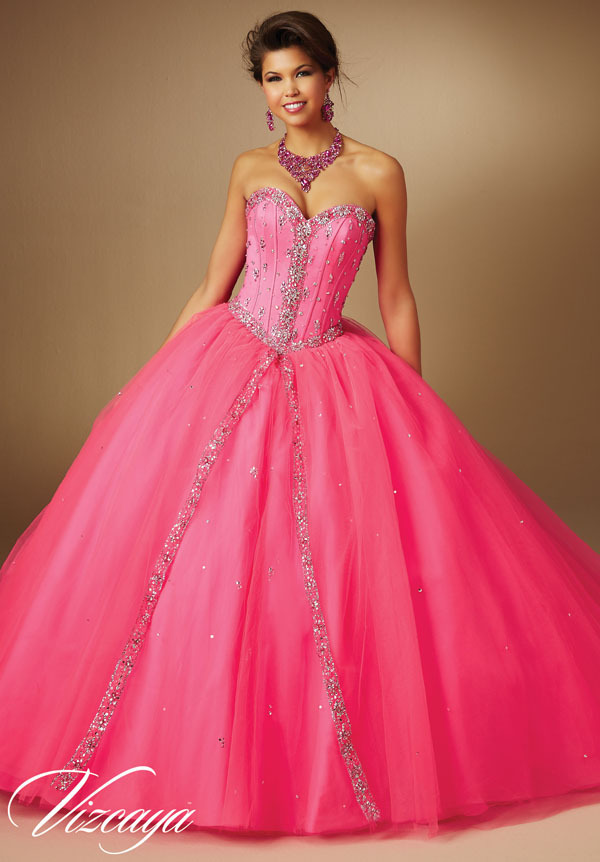2016 pink panther quinceanera dresses ball gown sweep jeweled beading on tulle princess puffy sweet 15 dresses 89043(China (Mainland))
