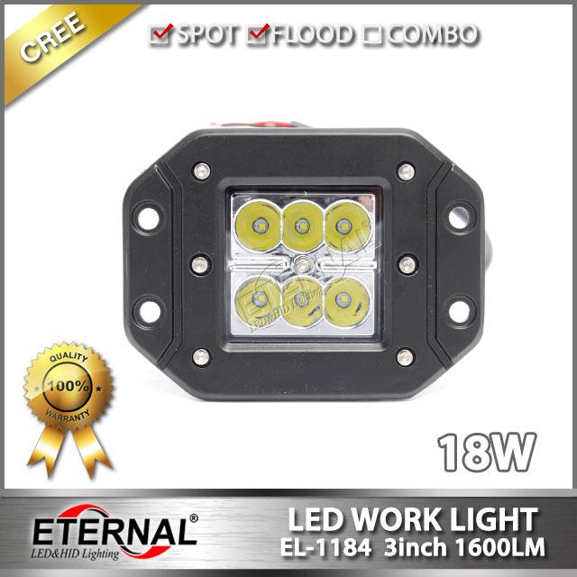 free shipping pair 18W work light 3x3 pod cube led work light flush mount offroad Wrangler 4x4 racing powersports SUV JK TJ YJ(China (Mainland))