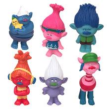 6 шт./компл. 8 см DREAMWORKS фильм Троллей фигурки коллекционная модель Троллей игрушки Мак Отрасль Виниловые куклы подарки для мальчиков девушки(China (Mainland))