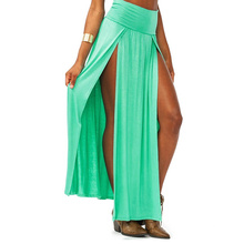8 Color Sexy Womens High Waist Party Beach Summer Casual Ladie Solid Color Double Split Stretch Long Maxi Skirt Streetwear