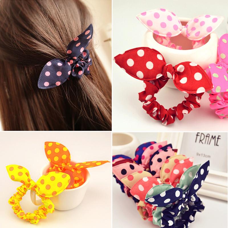 Retail Fashion Hair Band Polka Dot Elastic Hair Rope Ponytail Holder Rabbit Ears Hair Tie Girl Hair Accessory(China (Mainland))