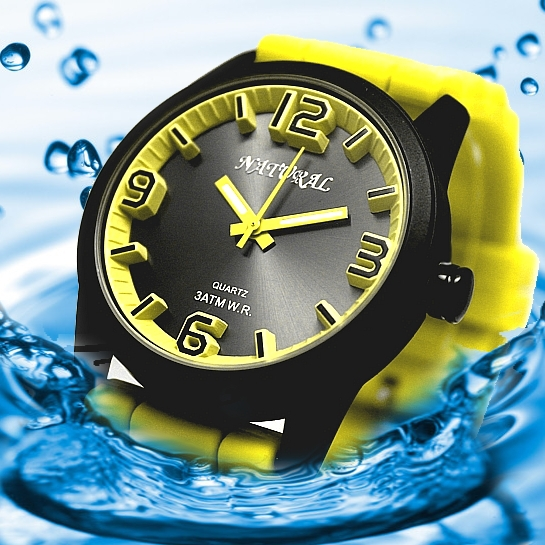 NATURAL Brand Smart Stylish Watch Yellow Color Water Resistant Silicone Band Boy Girl 100% Tested 3ATM Fashion Watch FW848C(China (Mainland))