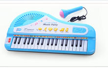 Children kids infant playing 37 keys piano electronic keyboard musical instrument with a microphone baby toy Christmas gift(China (Mainland))