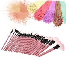 32 Pieces Cute Pink Wooden Handle Brushes Set with Pink Leather Case Cosmetics Professional Makeup Brush