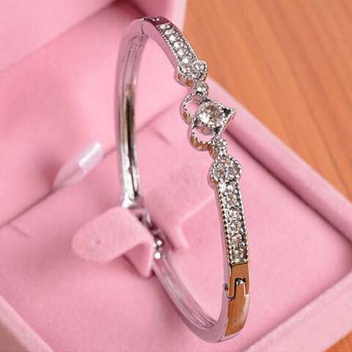 1 Шт. бижутерия браслеты для женщин Grils Красоты Посеребренная Хрустальное Сердце ...