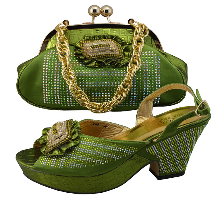 Lowest price African shoe and matching bag in army green color,good-looking design shoe and bag to match JBS1-15(China (Mainland))