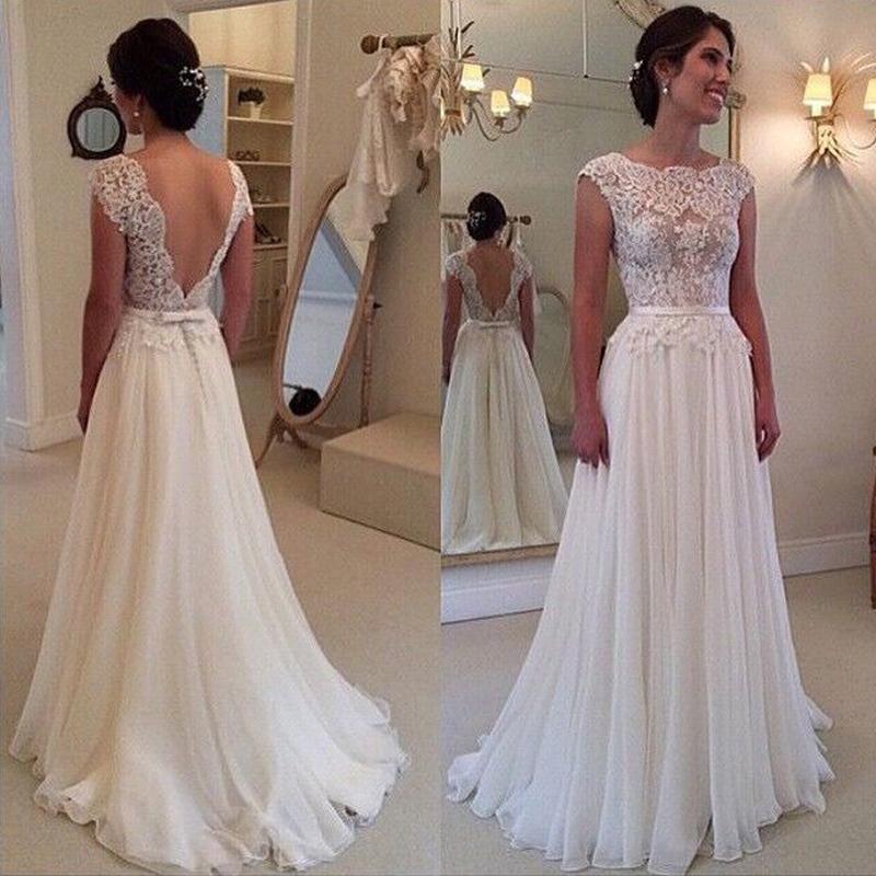Ligne Robes De Mariée Robe de Noiva Casamento Mousseline de Soie En ...