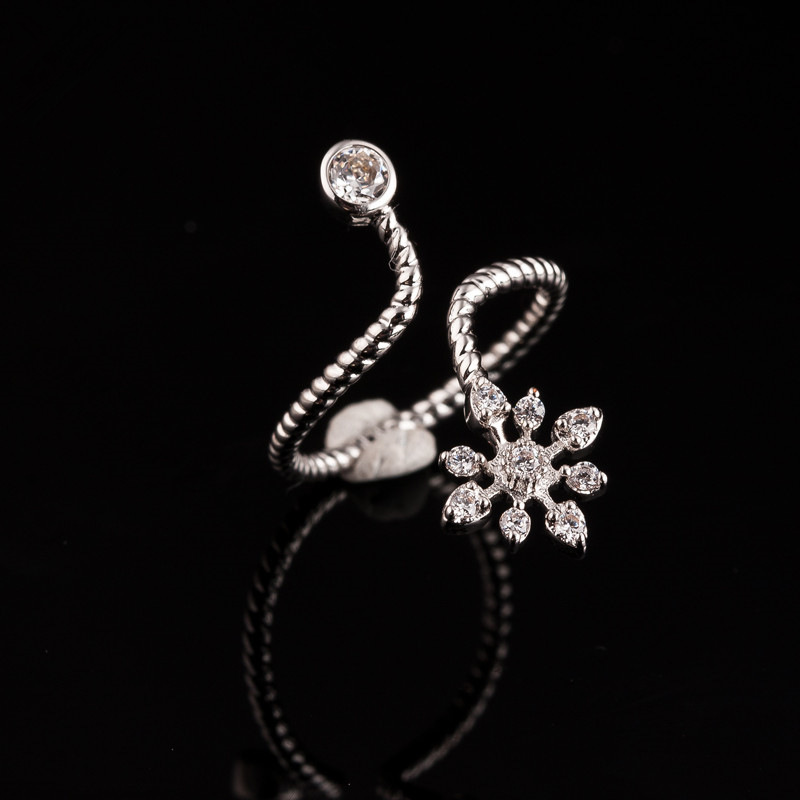 2015 Korean New Micro Snowflake Rope Twist with CZ Finger Jewelry Women Valentine'S Day Ring Gift for Best Friend(China (Mainland))