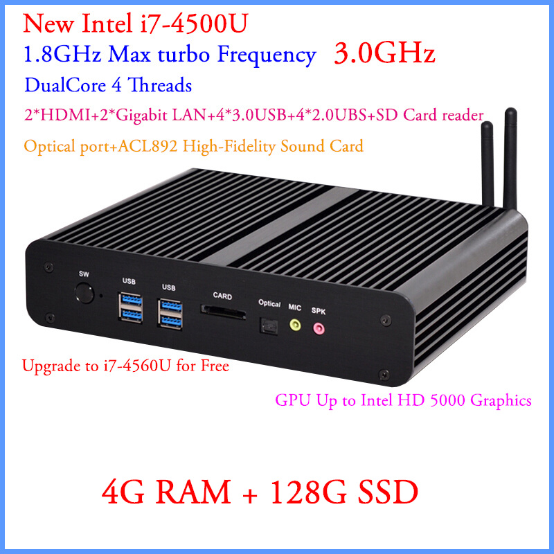 high enery-saving internet bar pc intel i7 4500u thin client 4g ram 128g ssd build-in-wifi support 4K 1080p full screen movies(China (Mainland))