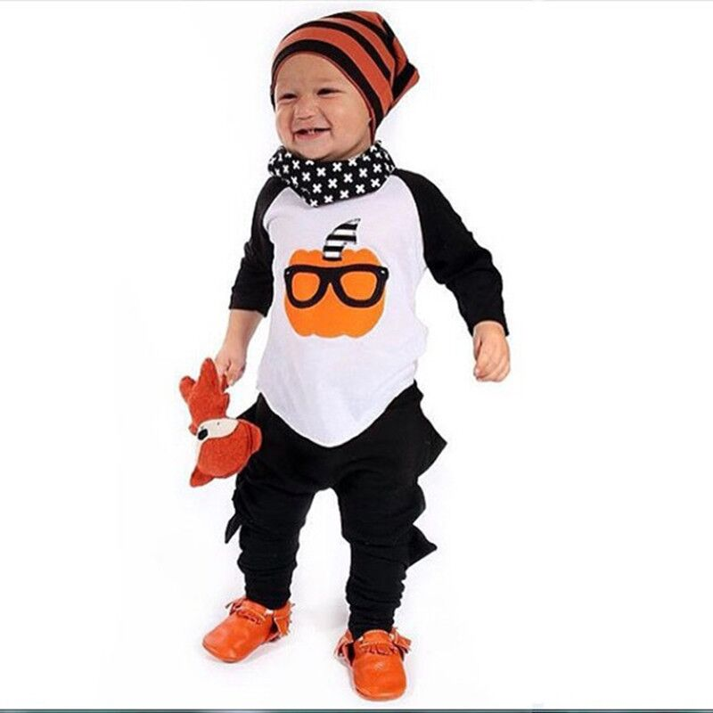 Halloween baby kids cartoon pumpkin printed costume child girls font b boys b font font b