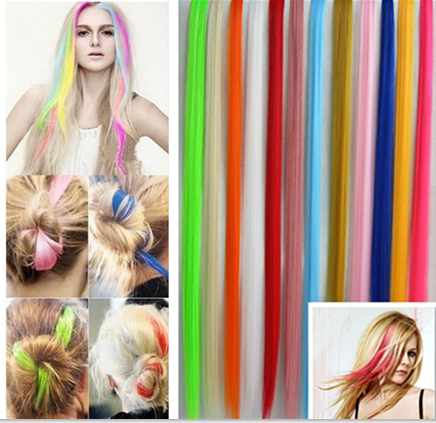 Straight Long Women Hair Extension Colored Colorful Clip-in Clip On In Hair Extension Synthetic Hair piece Hot Sale 2015(China (Mainland))