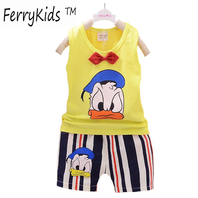 2016 New Summer Kids Clothes Boys Clothing Set Sleeveless Baby Boys Clothes Set Children Clothing Set Fashion Kids Sets(China (Mainland))