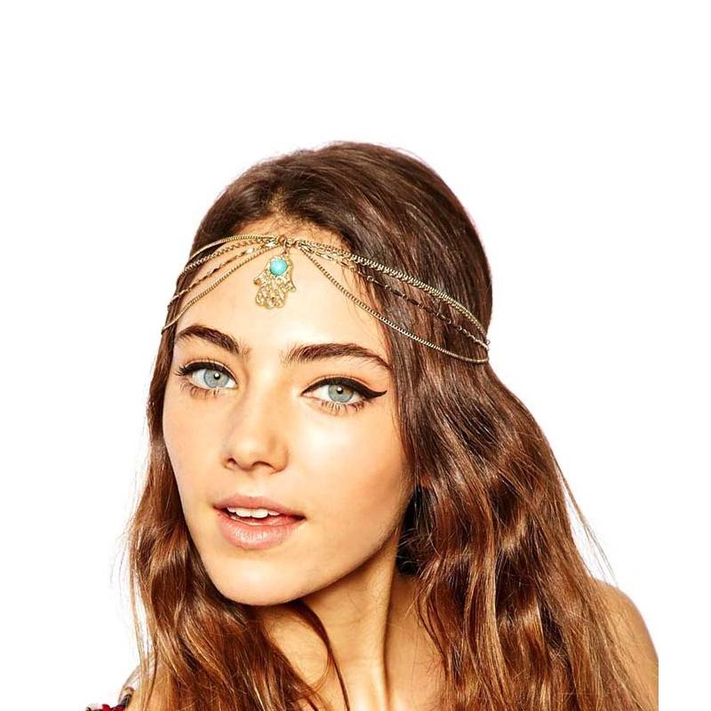 Fashion Angel Eyes Womens Hand Made Hamsa Metal Head Chain Jewelry Headband Head Piece font b
