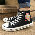 Wen High Top Canvas Shoes Design Ornamental Owl Ethnic Style Black Casual Shoes Lace Up for