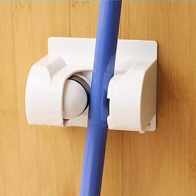 1Pc White Kitchen Storage Mop Rack Broom Holder Stronger Adhesive Wall Mounted Hanger Storage Holder High Quality GI678068(China (Mainland))