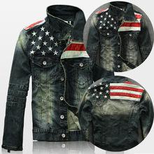 2015 New Mens USA flag retro personality color Washed motorcycle jacket long  sleeve Patchwork Denim Jacket  Jean Coat(China (Mainland))