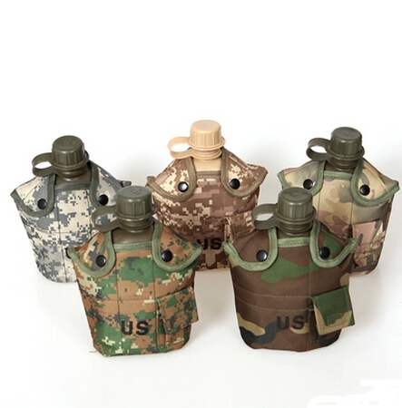 Free shipping 1L polymer army military camping water canteen water bottle kettle,warm fluff bag+aluminum cup,5 color(China (Mainland))