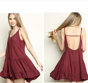 European and American brandy melville chiffon spaghetti strap Sexy Backless dress ruffle womens laciness sleevelessОдежда и ак�е��уары<br><br><br>Aliexpress