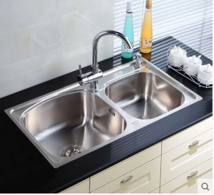 Free shipping sink basin for washing vegetables thickened double groove 304 stainless steel wire drawing package kitchen sink(China (Mainland))