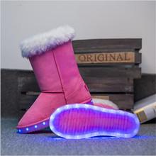 2017 mujeres se ilumina led luminoso zapatos de alta top brillante ocasional con la nueva simulación de carga única para adultos mujer Bota de la nieve(China (Mainland))