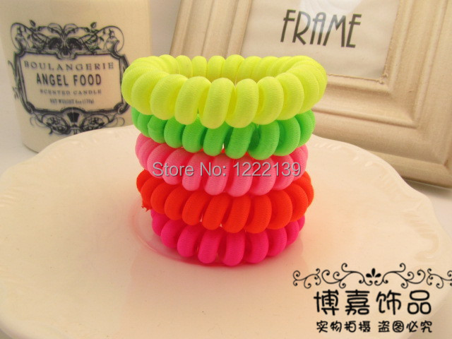 Cloth fabrics wrapped telephone wire elastic hair band hair circle hair rope fluorescent neon colors(China (Mainland))