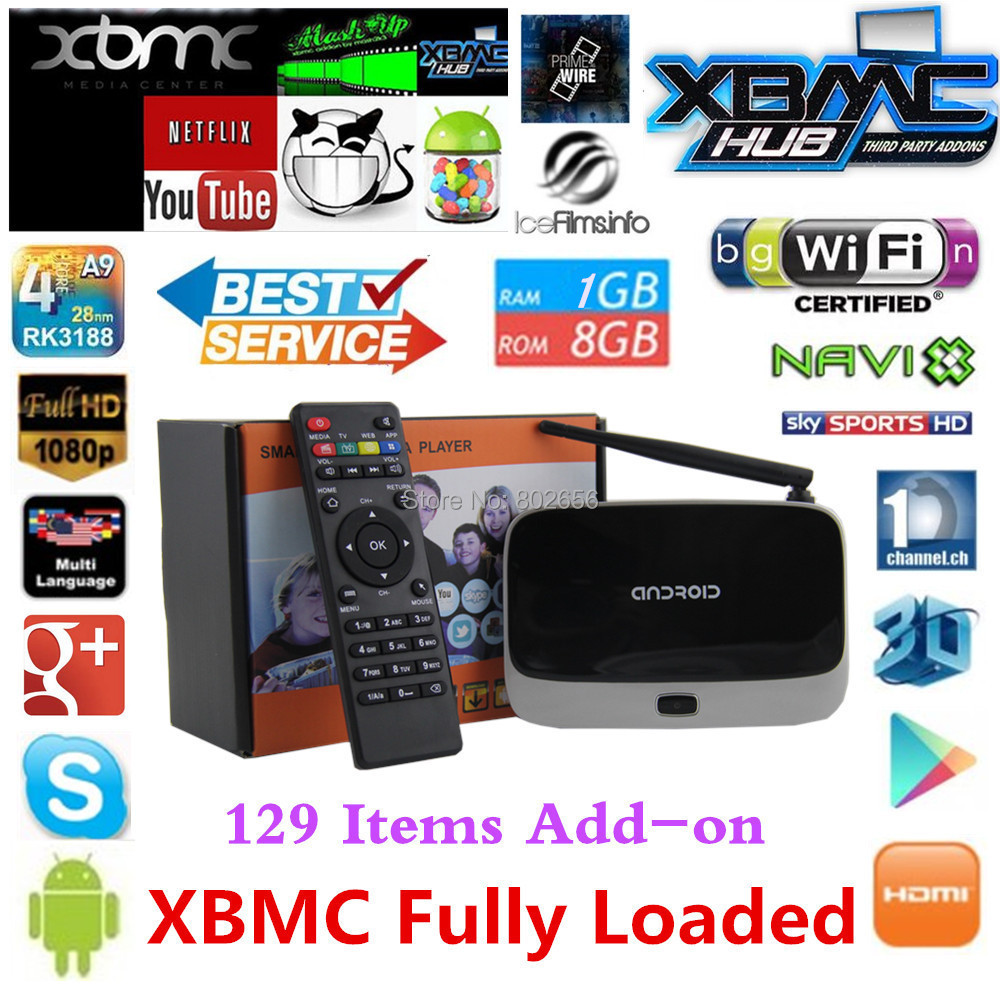 Crazy Discount! Android TV Box XBMC Fully Load CS918 mk888 Smart tv box Full HD Media Player 1GB/8GB RK3188 Quad Core Bluetooth(China (Mainland))