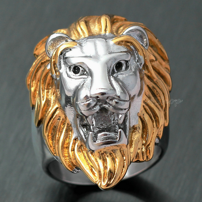 1 LOT 5 PCS Biker Men's Vintage Casting Gold Silver 316L Stainless Steel Lion Head Ring King of Animal Band Free Shipping(China (Mainland))