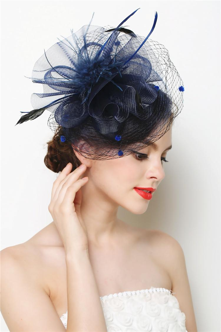 Mini Hat Fascinator Feather Flower Hair Clip Wedding Hats And Fascinators Bridal Hair Acessories ...