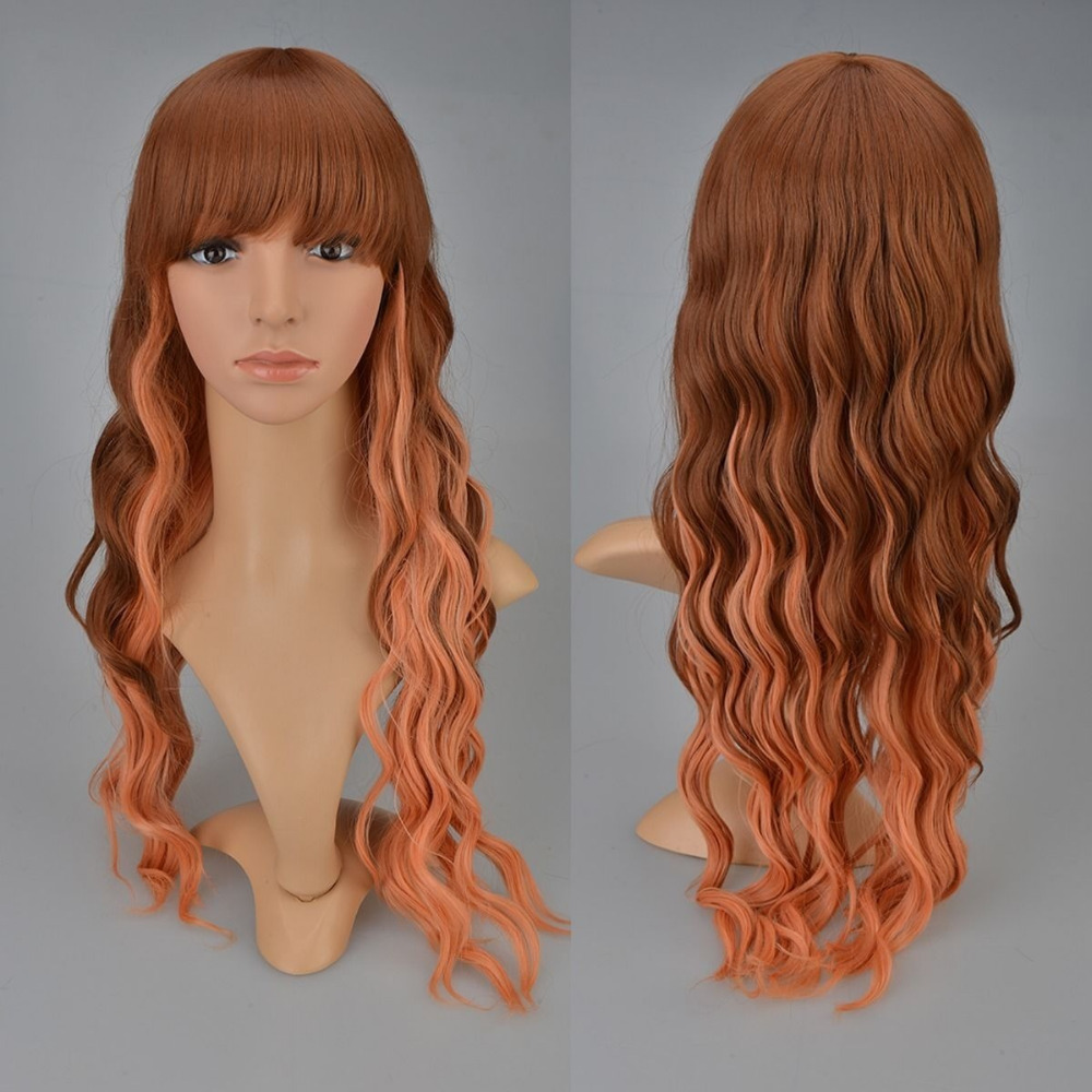 Wholesale Harajuku Style Corn Curly Wavy African Hair Costume Theatre Brown Ombre Wig Afro Natural Largo Cabello Peluca<br><br>Aliexpress