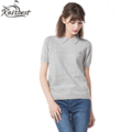 Knitbest Women Cotton Knitted Pullovers Special Solid Polo shirt Girl s Short Sleeve Knitwear Tops Spring