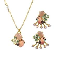 France Shourouk brand Les Nereides Flowers Pink gem robin advanced enamel earrings enamel necklace sets 2015 NEW(China (Mainland))