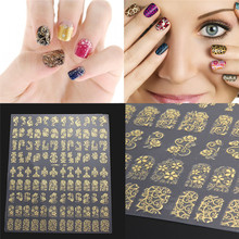 Nail sticker Nails beauty tools108pcs 3D DIY Flower Design Nail Art Stickers Flower Manicure Tips Decals Golden