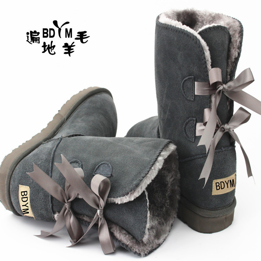 High Quality ! SALE Women Australia Boots Sheepskin Fur Baileys Bow boots women winter boots snow boots big size US:5-11(China (Mainland))