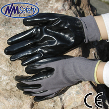 NMSafety Free shipping coated nitrile palm Auto Parts Repair gloves oil proof work gloves(China (Mainland))