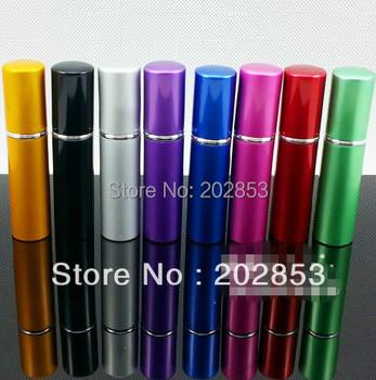 100pcs/Lot Hot pump empty perfume bottle 5ml Aluminum glass Anodized Compact parfum atomiser fragrance mini spray scent-bottle