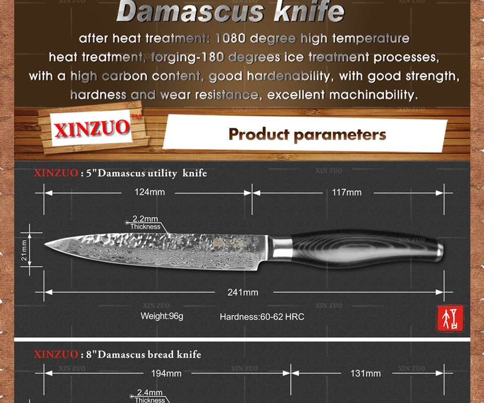 Buy XINZUO 3 pcs kitchen knives set Damascus kitchen knife set Japanese VG10 bread chef utility knife hammer striae  free shipping cheap