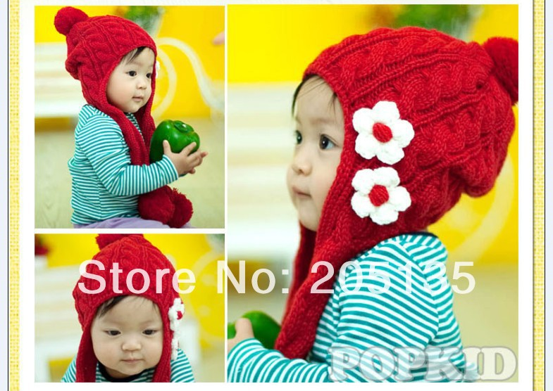 2014 Cute baby girls Winter Autumn hat scarf cap Toddler kids crochet warm hat flower Beanie Cap wholesale free shipping(China (Mainland))