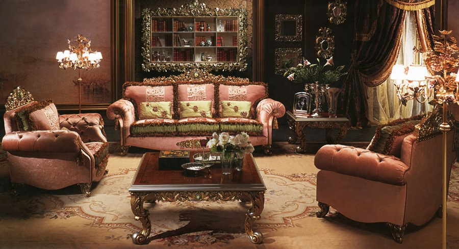 European style luxury imperial flower decorative living for Living room group sets