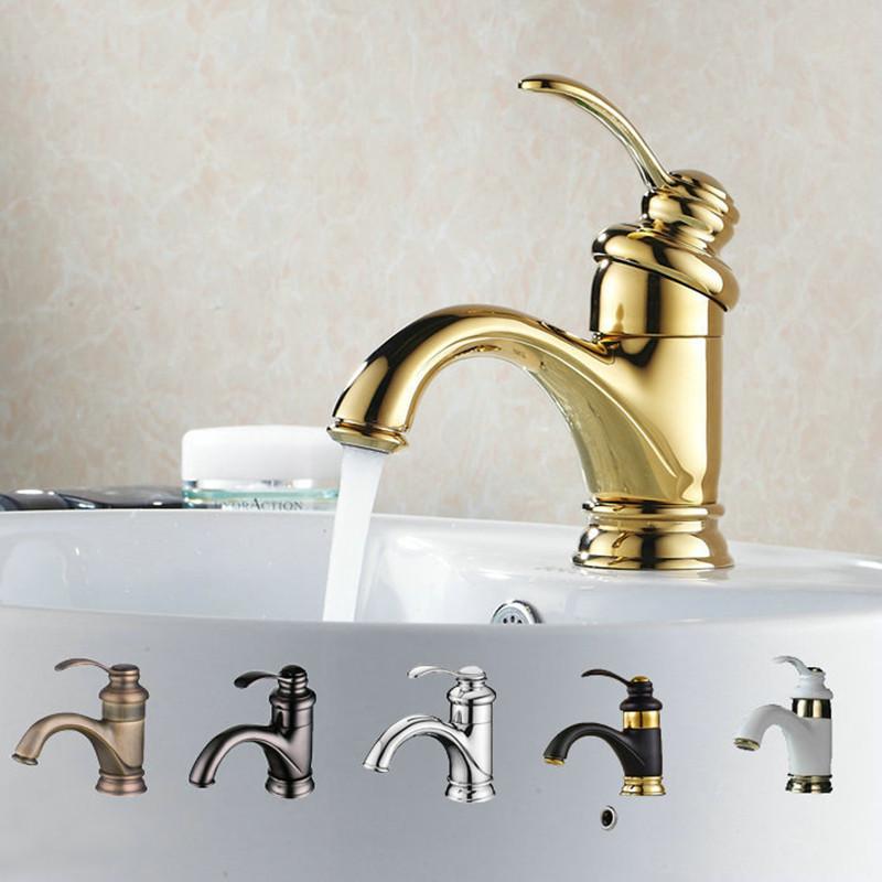 Antique Gold Black Silver Basin Faucet Polish Brass Tap Bathroom Sink Basin Mixer Tap Small Bend