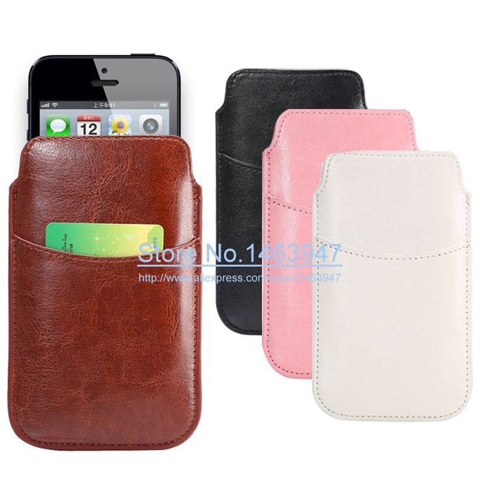 Universal PU Leather Pouch Case for iPhone 5 / 5C / 5S / for iPhone 4 4S Wallet Pull Tab Sleeve Cover Protective Leather Case(China (Mainland))