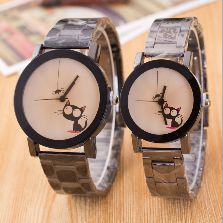 CMK Quartz Watch Women Fashion Leather Casual Women Big Eyes Cat Watching Spider Wristwatch Feminino Free Shipping 2016 LZ294(China (Mainland))