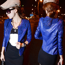 2014 Autumn Winter Ladies Coat  Lace Slim Water Washed Faux Motorcycle Leather Jackets Women Jaqueta De Couro Feminina WWP038(China (Mainland))